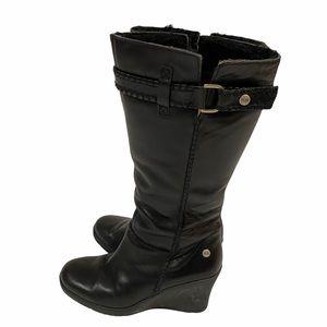 UGG Maxene black leather wedge boots